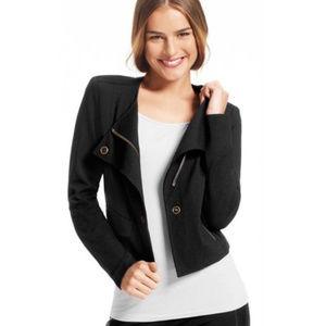 Cabi # 615 Black Ponte Knit Moto Jacket